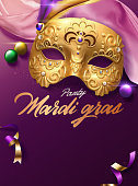 Mardi gras carnival poster with golden mask and pink satin decoration in 3d illustration