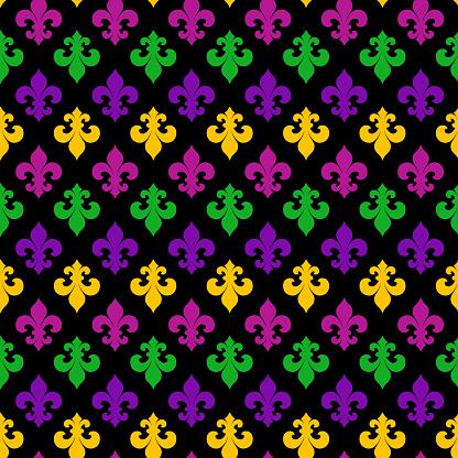 Mardi Gras Carnival seamless pattern with fleur-de-lis. Mardi Gras endless background, texture, wrapper. Vector illustration.