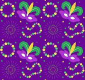 Mardi Gras Carnival seamless pattern with mask feathers, beads.   endless