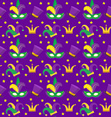 Mardi Gras Carnival seamless pattern with mask feathers, crown, clown