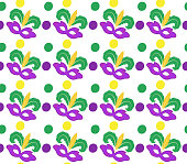 Mardi Gras Carnival seamless pattern with mask feathers.   endless background