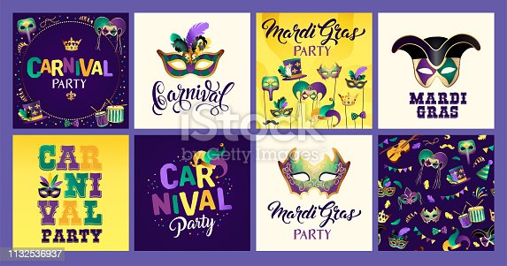 Mardi Gras carnival set icons, design element. Collection mask with feathers, beads, joker, fleur de lis, comedy and tragedy, party decorations for card, poster, flyer and other users.