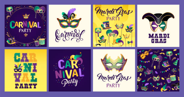 Mardi Gras carnival set icons, design element. Mardi Gras carnival set icons, design element. Collection mask with feathers, beads, joker, fleur de lis, comedy and tragedy, party decorations for card, poster, flyer and other users. mardi gras stock illustrations