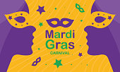 Mardi Gras carnival. Traditional holiday in many countries. Celebrated with folk festival, masquerade, party, and carnival. Shrove Tuesday. Vector poster, card, banner and background