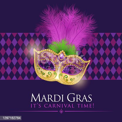An invitation to the masquerade party for the Mardi Gras with feather carnival mask on the purple colored diamond shaped pattern