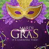 An invitation to the Mardi Gras Carnival, a shiny mask surround with colorful feather on the deep purple colored background