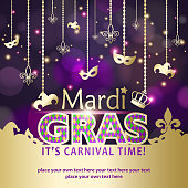 An invitation to the Mardi Gras Carnival with decoration of shiny masks, jester hats and fleur de lys on the background