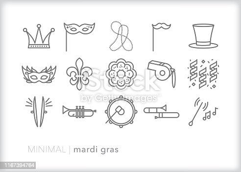 Set of 15 Mardi Gras, Fat Tuesday, carnival line icons for celebrating the feasts of the Epiphany leading up to Ash Wednesday with music, parades, food and costume
