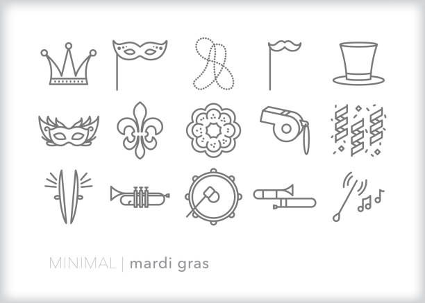 Mardi Gras celebration line icon set Set of 15 Mardi Gras, Fat Tuesday, carnival line icons for celebrating the feasts of the Epiphany leading up to Ash Wednesday with music, parades, food and costume mardi gras stock illustrations