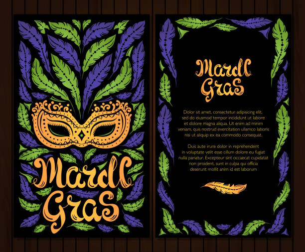 mardi gras celebration poster with venetian mask and feathers - mardi gras stock illustrations, clip art, cartoons, & icons