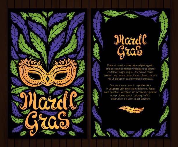 ilustrações, clipart, desenhos animados e ícones de mardi gras celebração cartaz com máscara veneziana e de penas - mardi gras