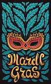 Mardi Gras celebration poster with venetian mask and feathers and hand written letters