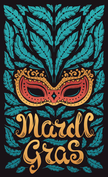ilustraciones, imágenes clip art, dibujos animados e iconos de stock de mardi gras celebración con dosel con máscara veneciana y plumas - martes de carnaval
