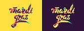 Mardi gras colorful calligraphic lettering poster.