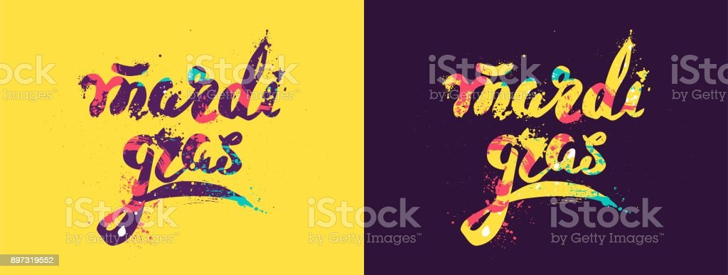 Mardi gras colorful calligraphic lettering poster. vector art illustration