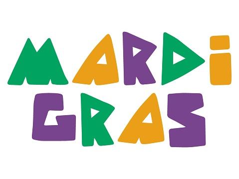 Mardi Gras colorful words stock vector illustration