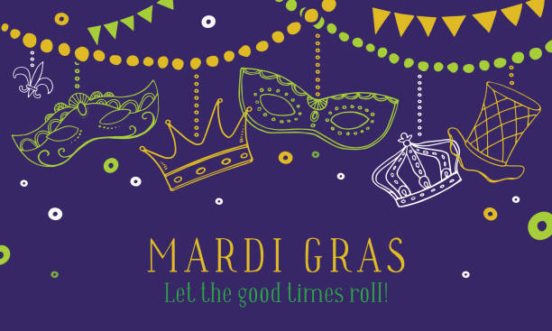 Mardi Gras composition with masks, crowns and hat hanging on beads. Vector hand drawn sketch color illustration Mardi Gras composition with masks, crowns and hat hanging on beads. Vector hand drawn sketch color illustration on purple background mardi gras stock illustrations