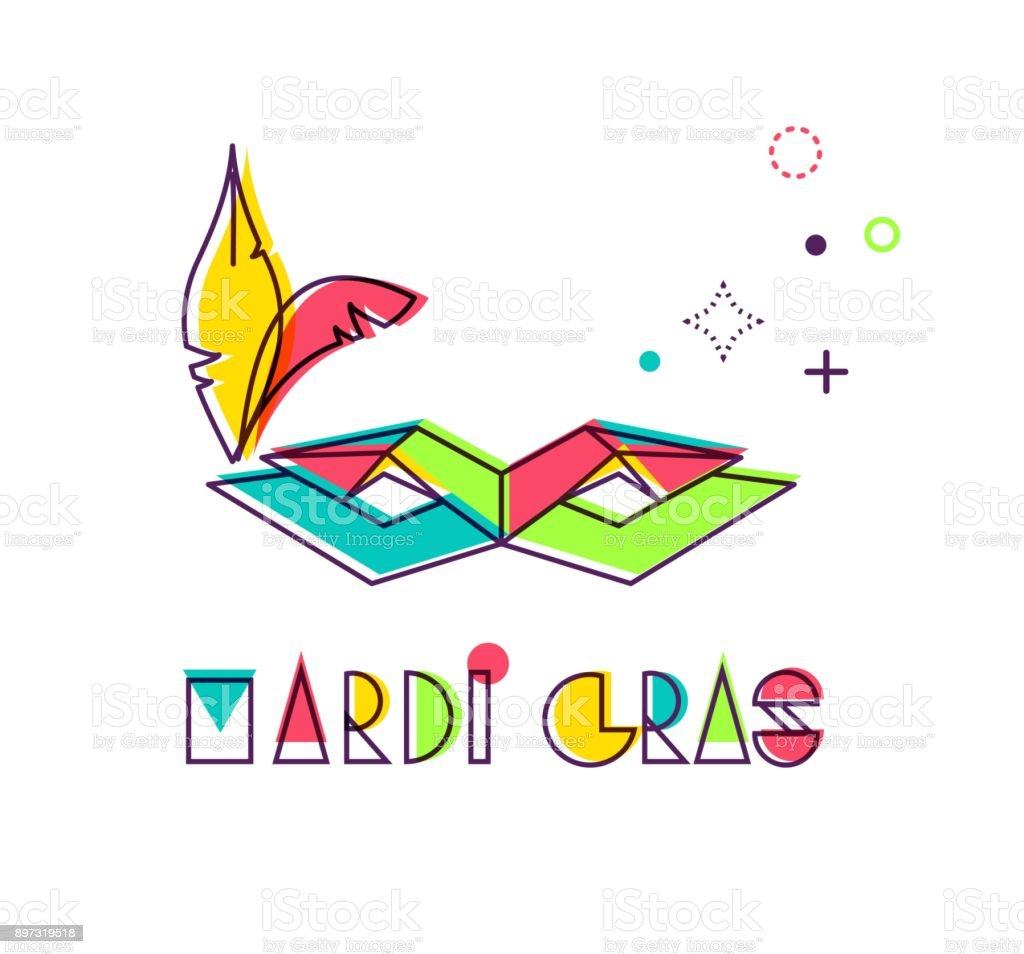 Mardi gras creative geometric alphabet with mask. vector art illustration