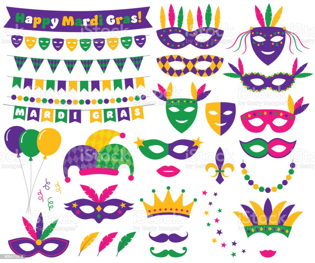 Mardi Gras decoration and design elements set vector art illustration
