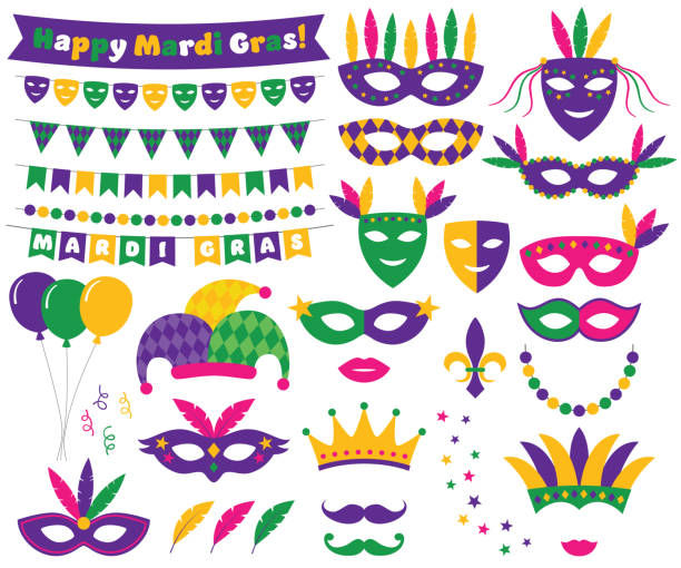 ilustraciones, imágenes clip art, dibujos animados e iconos de stock de decoración de mardi gras y el conjunto de elementos de diseño - martes de carnaval