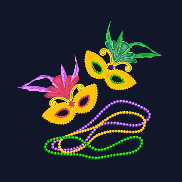 Mardi Gras design element, colorful symbols Mardi Gras design element, colorful symbols. Carnival masks concept. Masquerade symbol, feathers beads. Mardi Gras street parade celebration colorful icon. Holiday vector decorative banner background bead stock illustrations