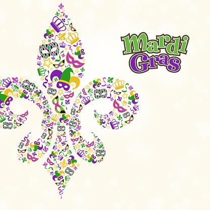 Mardi Gras Design Element Shape in Fleur De Lis