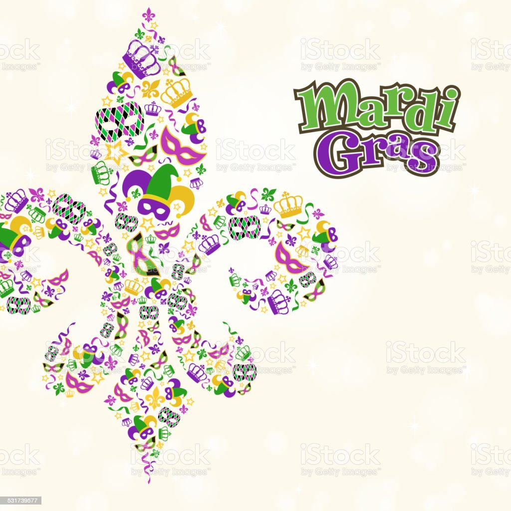 Mardi Gras Design Element Shape in Fleur De Lis vector art illustration