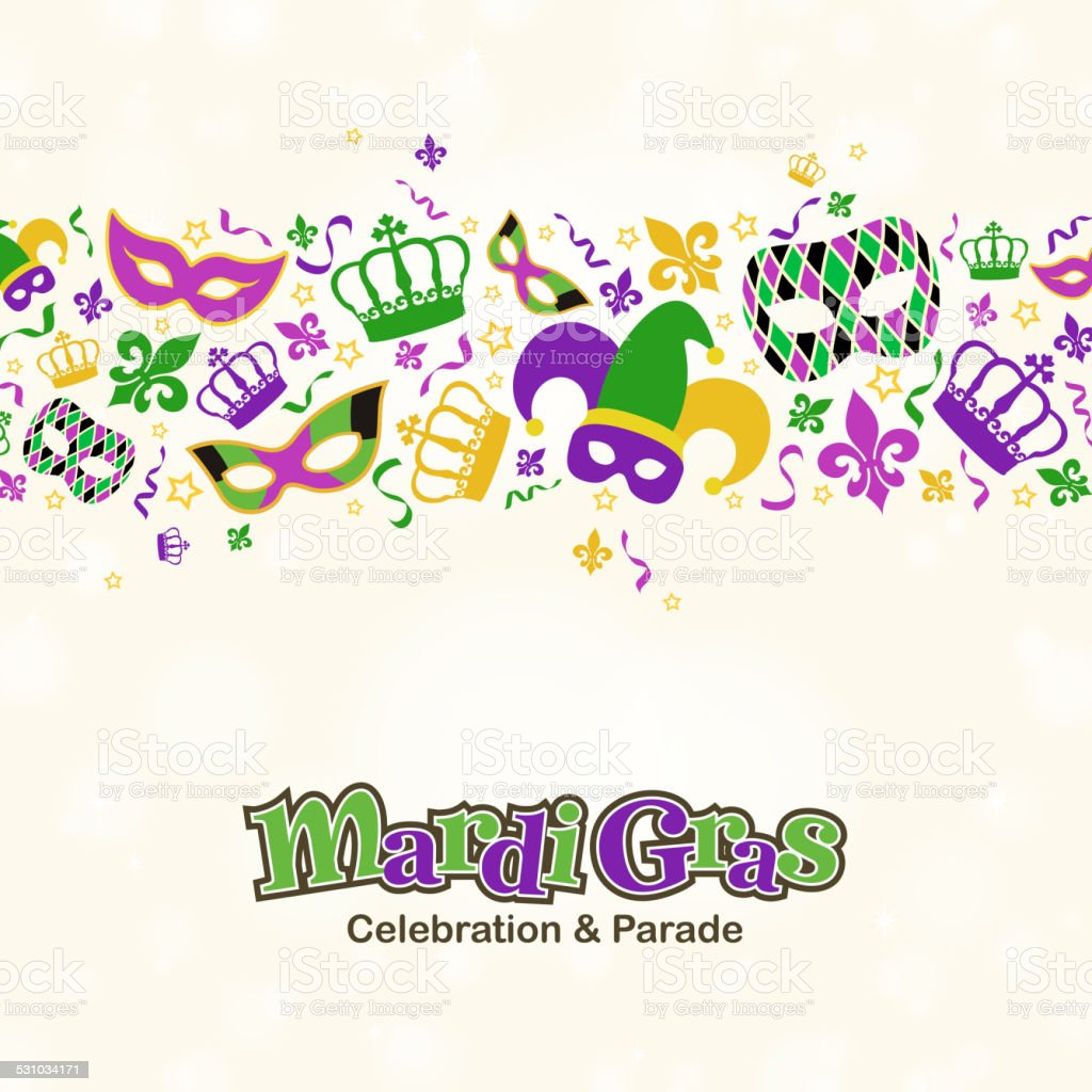Mardi Gras Design Elements Border vector art illustration