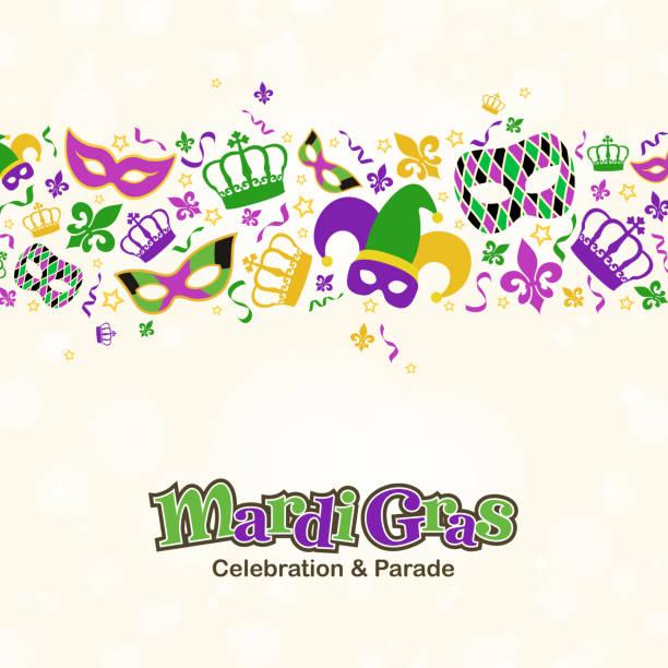 ilustraciones, imágenes clip art, dibujos animados e iconos de stock de mardi gras elementos de diseño de la frontera - martes de carnaval