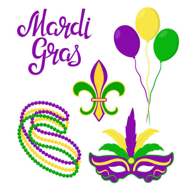Mardi Gras design elements balloons, carnival mask, heraldic Lily, beads mardi gras stock illustrations