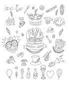 Mardi Gras Doodles Set