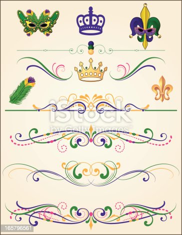 Purple, green, and gold Mardi Gras element set. Includes crowns, fleur de lys, masks, feathers, and intricate scrollwork page rules. Change color and scale easily with the enclosed EPS 10 and AI files. No transparencies or special effects. Also includes hi-res JPG.