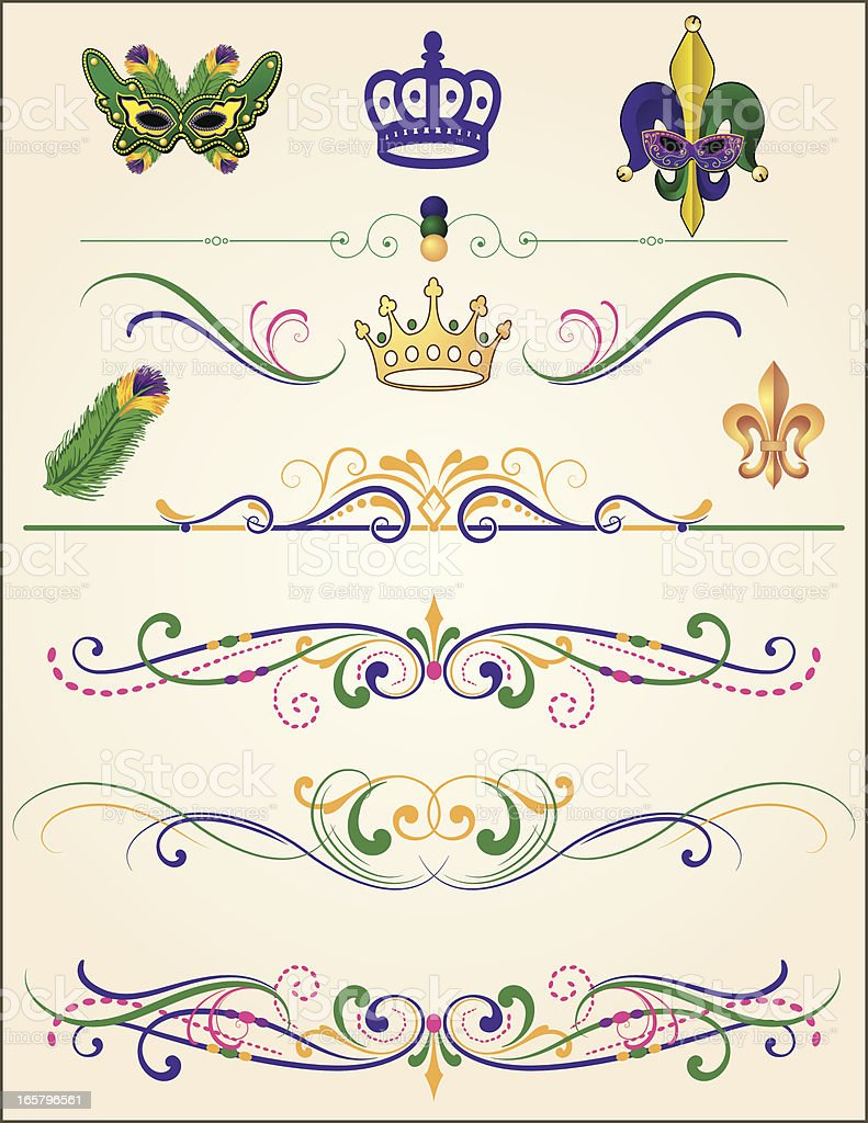 Mardi Gras Element Set vector art illustration