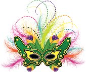 Ornate and colorful Mardi Gras carnival mask with feathers and jewels. Change color and scale easily with the enclosed EPS 10 and AI files. No transparencies or special effects. Also includes hi-res JPG.