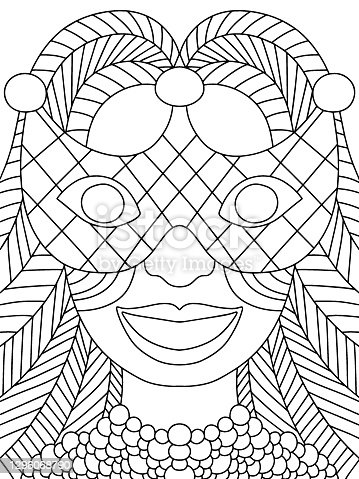 Mardi Gras festival girl coloring page stock vector illustration. Smiling girl in venetian mask with long hair and beads black outline white isolated. Mardi Gras parade symmetry vertical coloring page