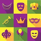Mardi Gras flat design icon collection