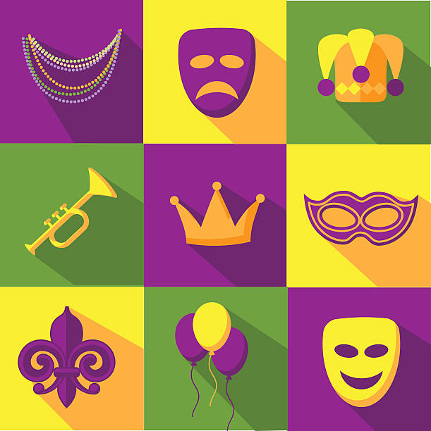 mardi gras flat design icon collection - mardi gras cartoons stock illustrations, clip art, cartoons, & icons