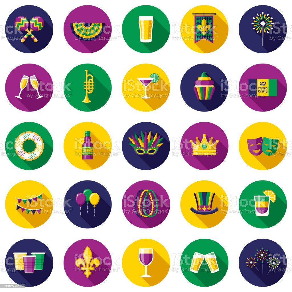 Mardi Gras Flat Design Icon Set - Royalty-free Bebida arte vetorial