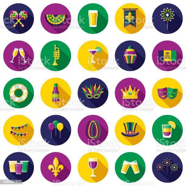 Mardi Gras Flat Design Icon Set - Arte vetorial de stock e mais imagens de Bebida