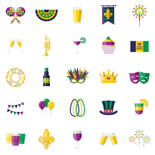 Mardi Gras Flat Design Icon Set A flat design styled icon set with a long side shadow. Color swatches are global so it's easy to edit and change the colors. bead stock illustrations