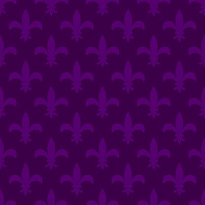 Mardi Gras Fleur de Lis Vector Seamless Pattern