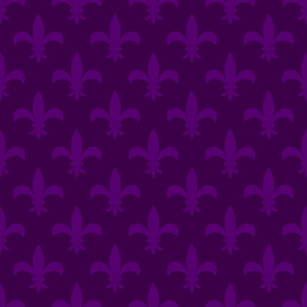 mardi gras fleur de lis vector seamless pattern - mardi gras stock illustrations, clip art, cartoons, & icons