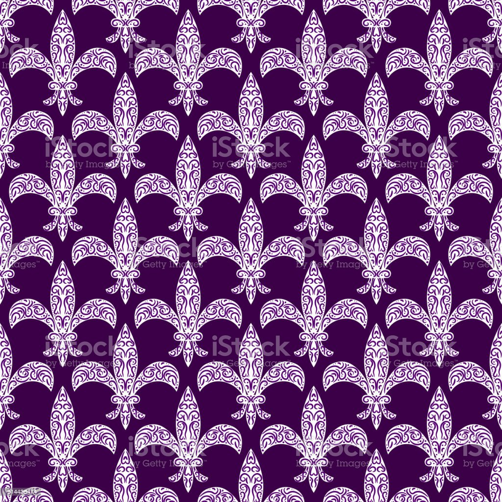 mardi gras fleur de lys vector decorated seamless pattern stock