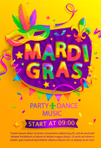 Mardi gras flyer with inviting for carnival party. Mardi gras flyer with inviting for carnival party.Traditional Mask with feathers for carnaval,fesival,masquerade,parade.Template for design invitation,banners, poster, placards. Vector illustration. mardi gras stock illustrations