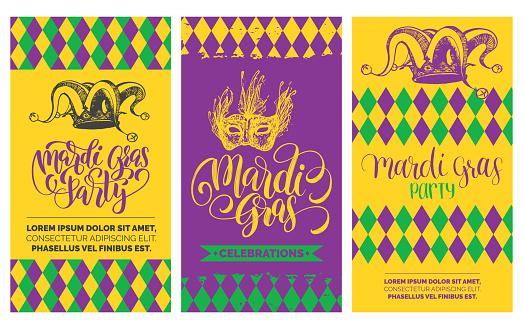 Mardi Gras flyers set. Vector hand lettering. Festive carnival background with jester hat, mask illustrations.