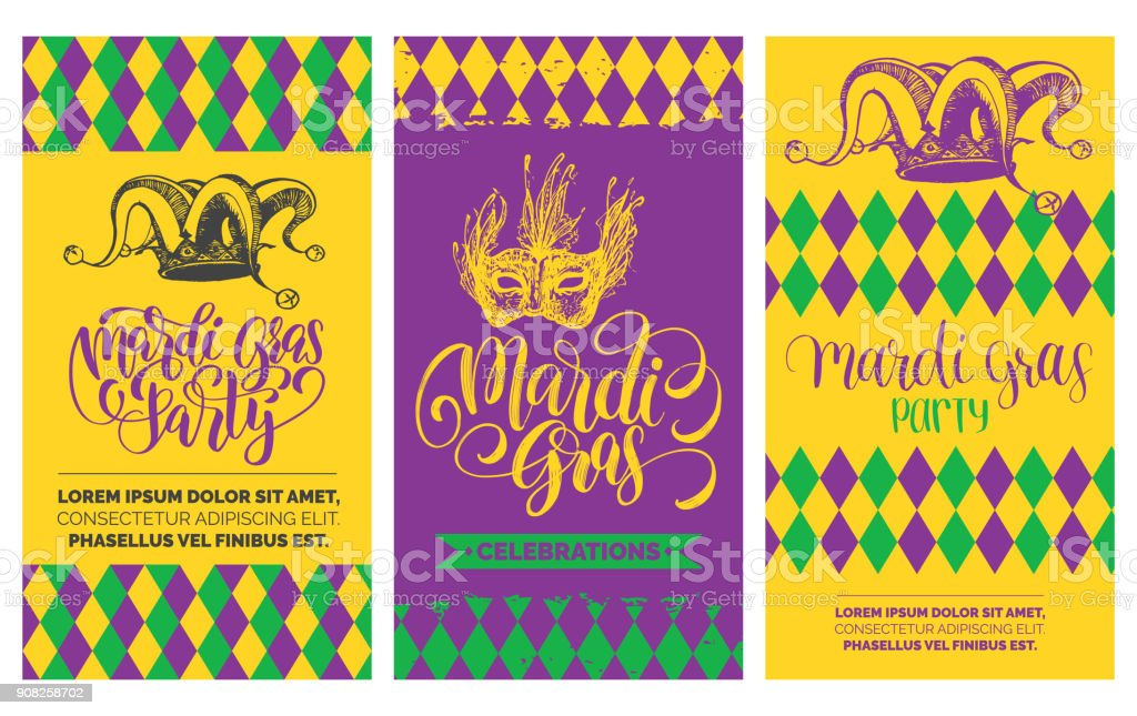 Mardi Gras flyers set. Vector hand lettering. Festive carnival background with jester hat, mask illustrations. vector art illustration