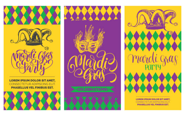 Mardi Gras flyers set. Vector hand lettering. Festive carnival background with jester hat, mask illustrations. Mardi Gras flyers set. Vector hand lettering for Fat or Shrove Tuesday posters, invitations, greeting cards. Festive carnival background with jester hat, mask illustrations. mardi gras stock illustrations