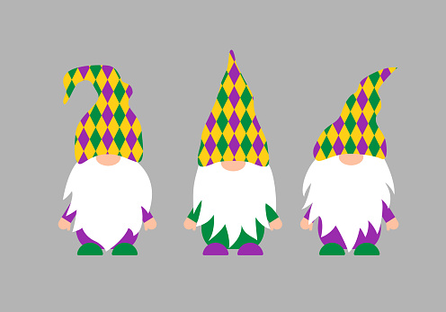 Mardi Gras gnomes. Fat Tuesday traditional carnival in New Orleans. Cute Nordic characters. Vector template for banner, flyer, poster, t shirt, sticker, etc