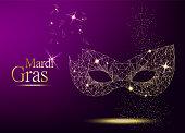 Mardi Gras golden polygonal carnival mask with lights for poster, greeting card, party invitation, banner or flyer on violet background. Vector Illustration.