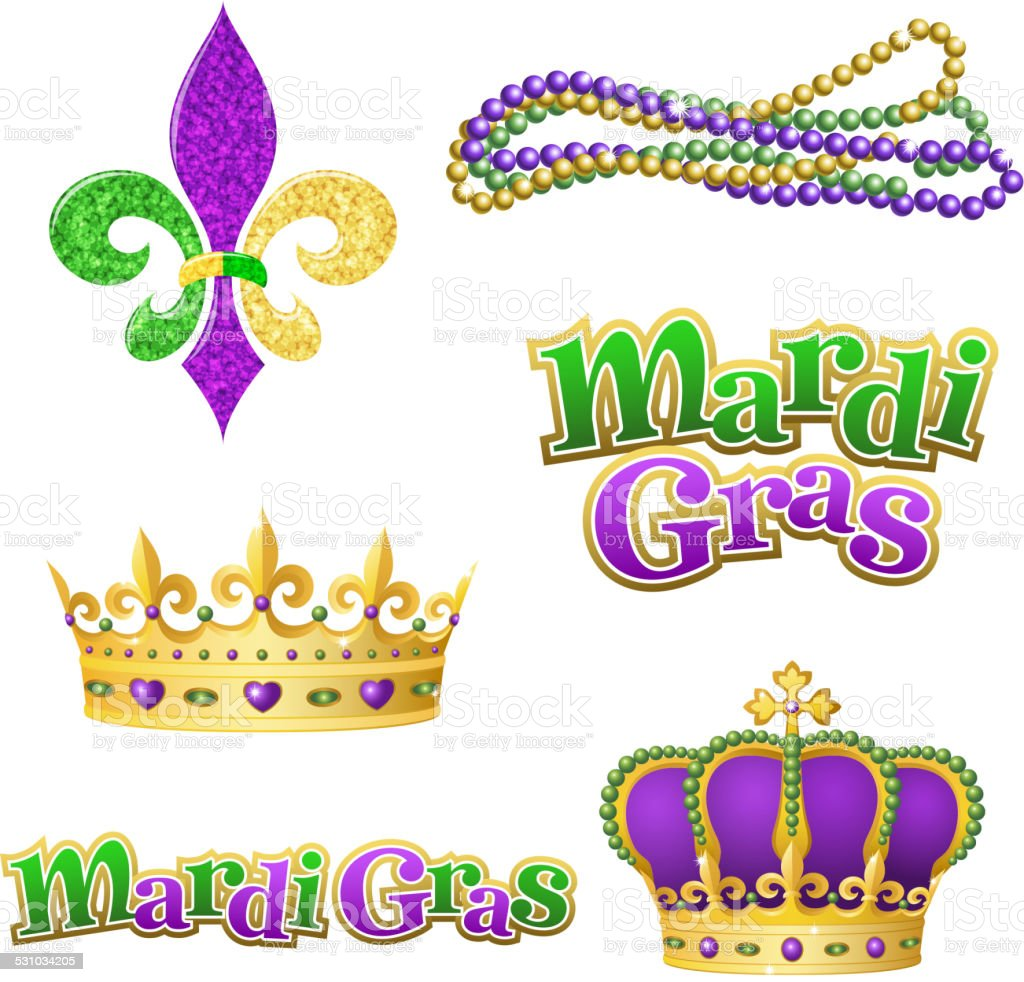 Mardi Gras Graphic Elements Stock Vector Art Amp More Images